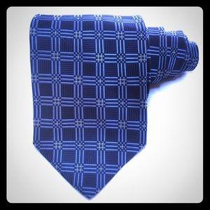 Jos A Bank 100% Silk Men's Blue Squared Prints Tie